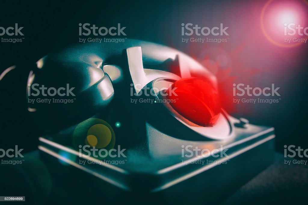 noir telephone vintage black glowing red light stock photo