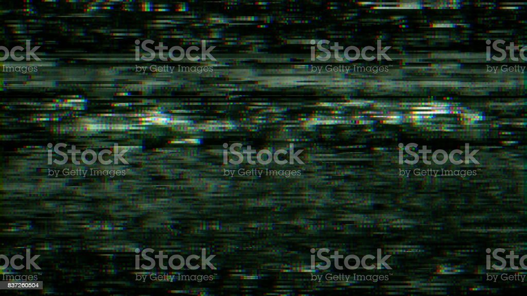 TV VHS noise and damage stock photo