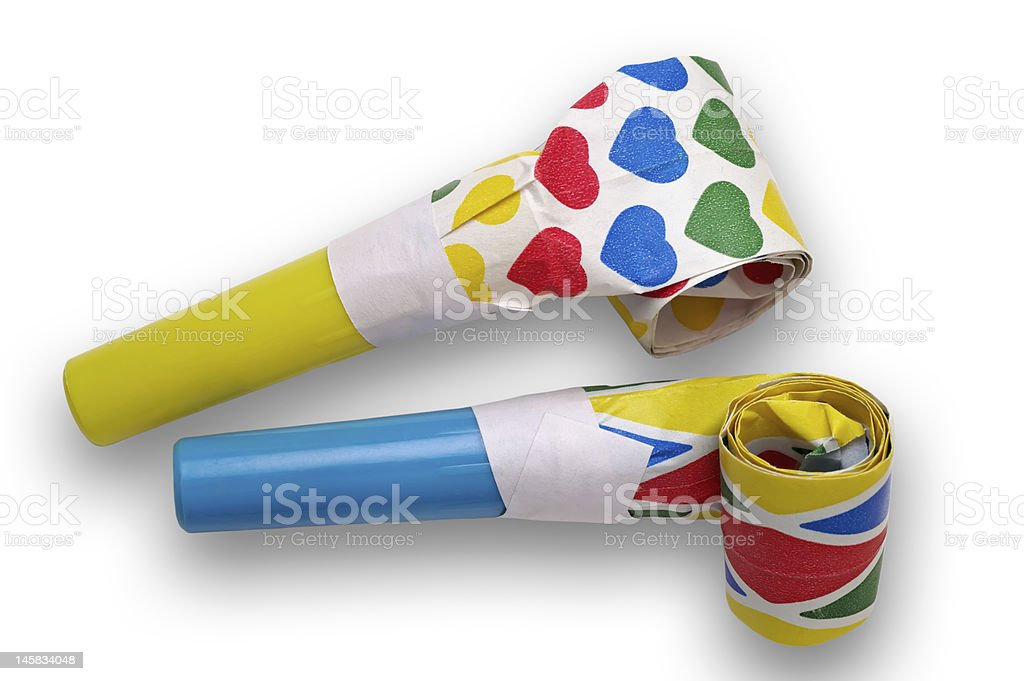 Noisemakers - party blowers with clipping path royalty-free stock photo
