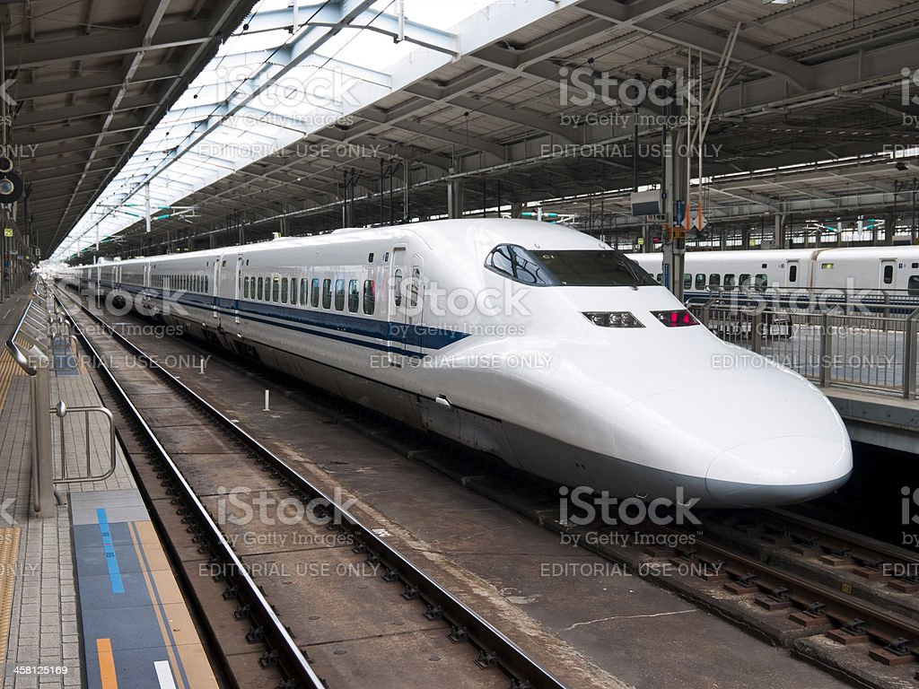 Noizomi Shinkansen at the Shin-Osaka Station stock photo