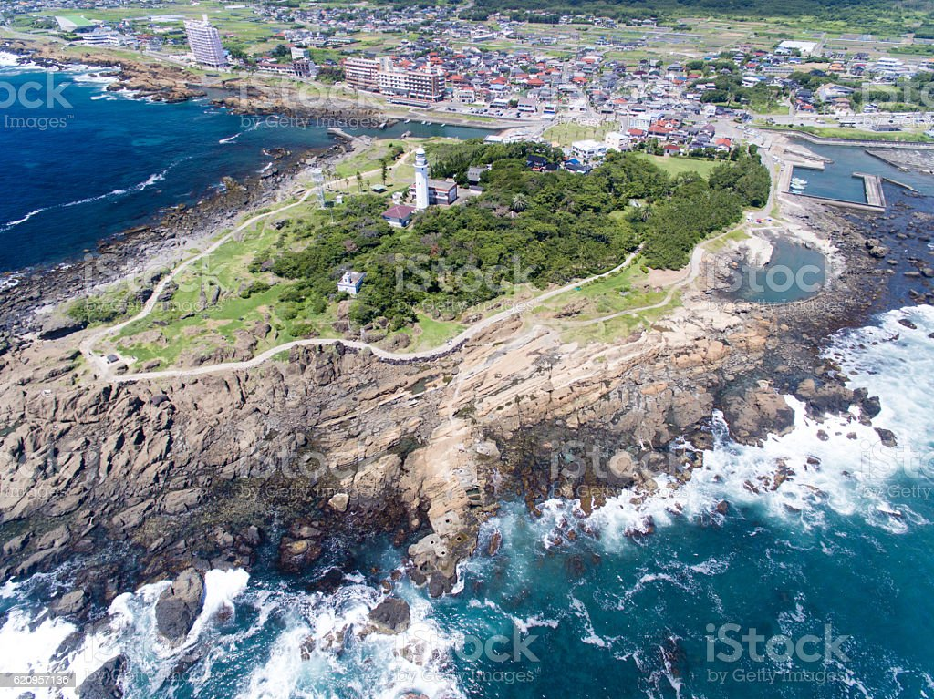 Nojimasaki lighthouse aerial view stock photo