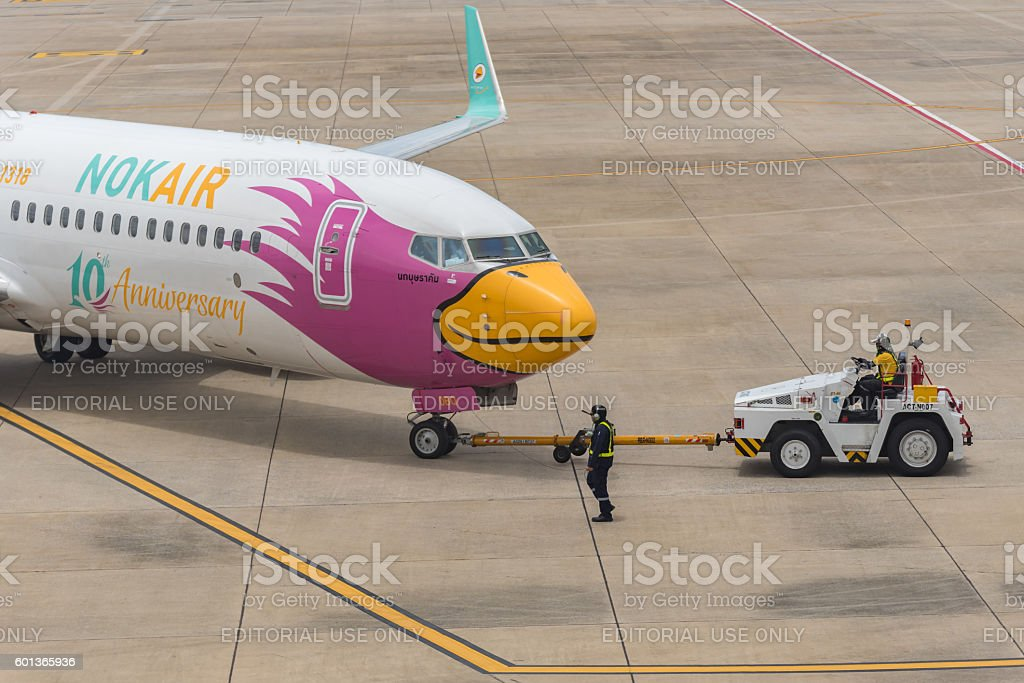 Nok Air ready for boarding in Donmuang Airport International Terminal stock photo