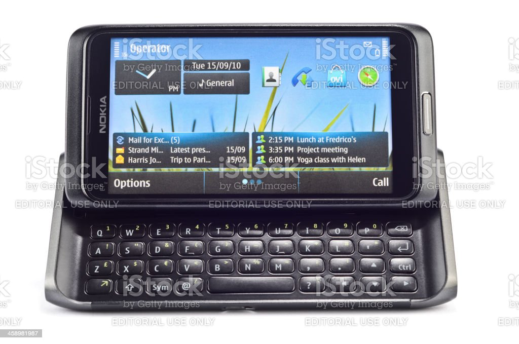 Nokia E7 isolated on white stock photo