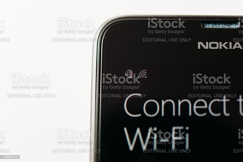 Nokia Lumia Microsoft Widowsphone - Connect to Wi-Fi stock photo