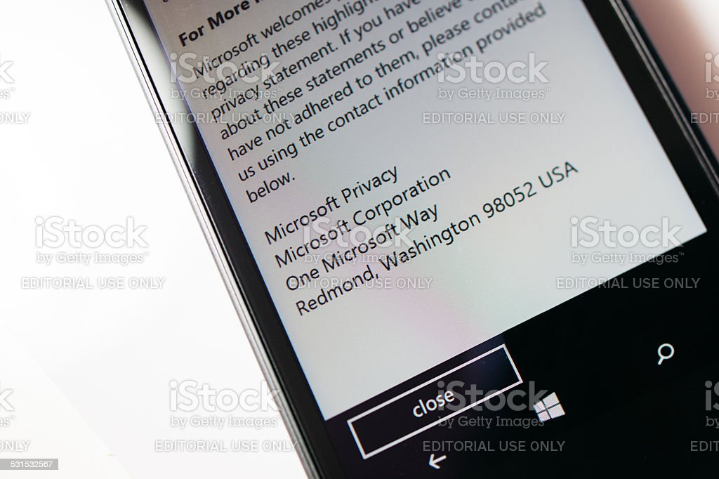 Nokia Lumia Microsoft Widowsphone stock photo