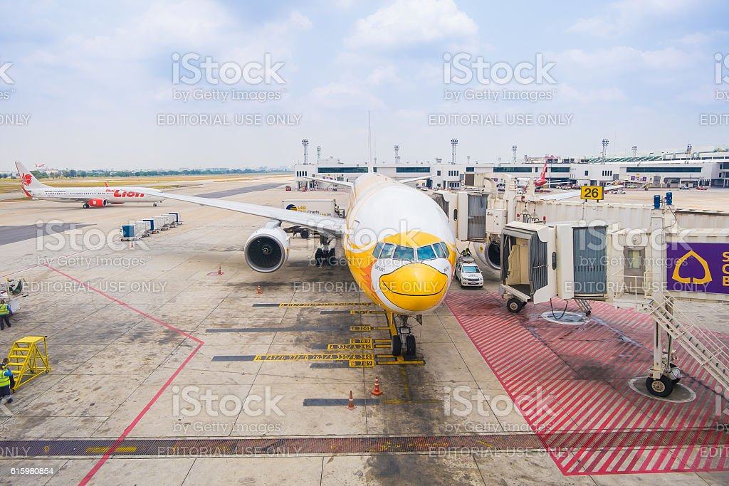 NokScoot Airline Boeing777-200ER HS-XBC in Bangkok stock photo