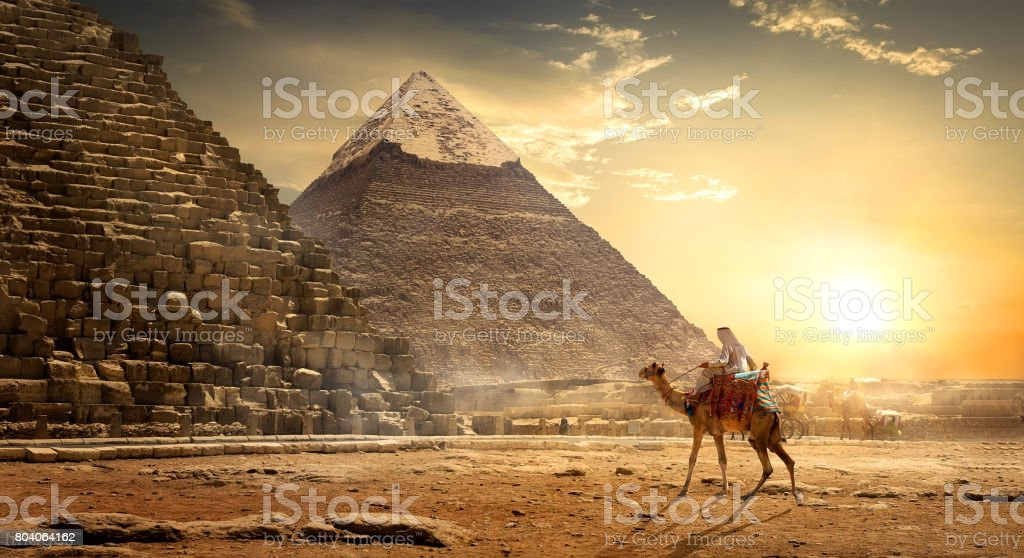 Nomad near pyramids stock photo