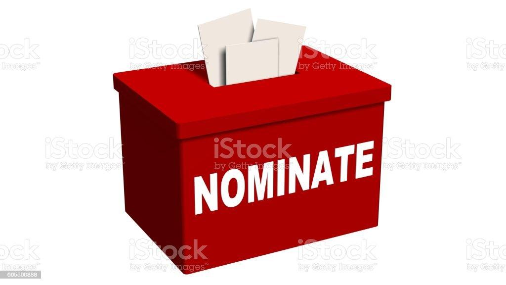 Nominate, Candidate, Suggestion Box  isolated on white stock photo