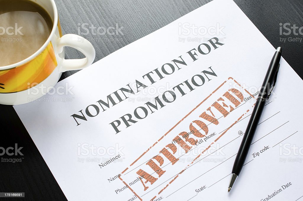 nomination for promotion - approved stock photo