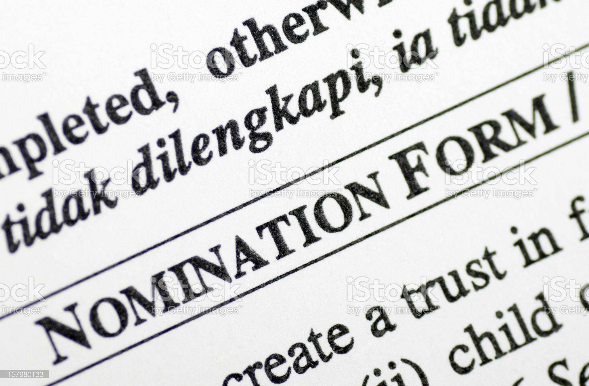 nomination form royalty-free stock photo
