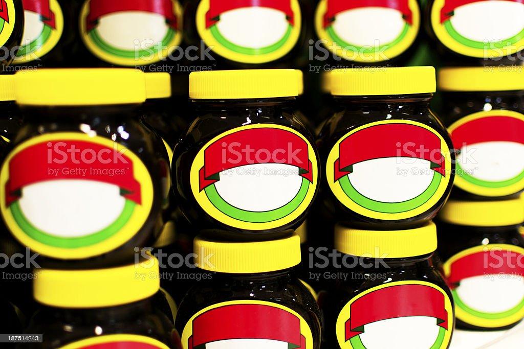 Non branded jars of condiment stock photo