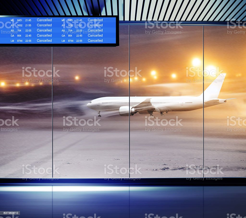 Non flying weather at airport stock photo