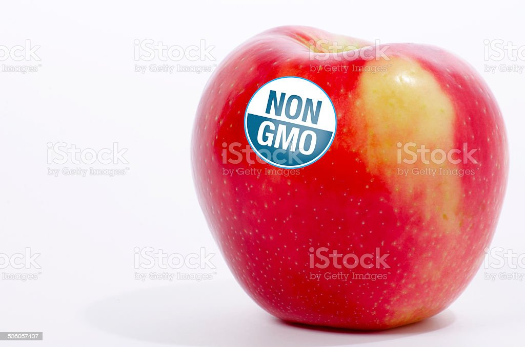 Non GMO Seal on an Apple stock photo