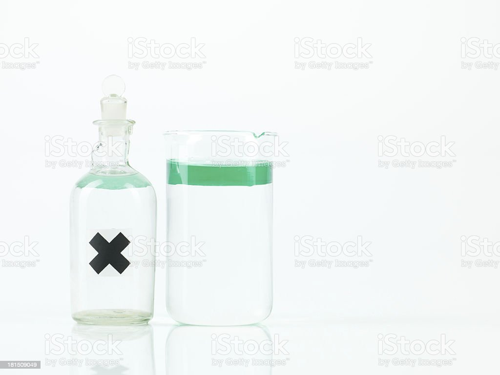 non mixing substances in two lab recipients stock photo