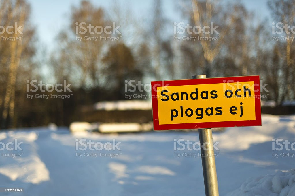 Non sanded and plowed road royalty-free stock photo