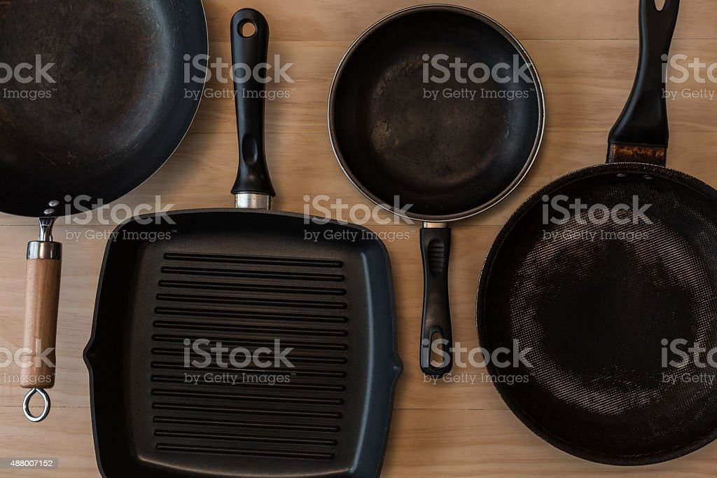 non stick frying pans stock photo