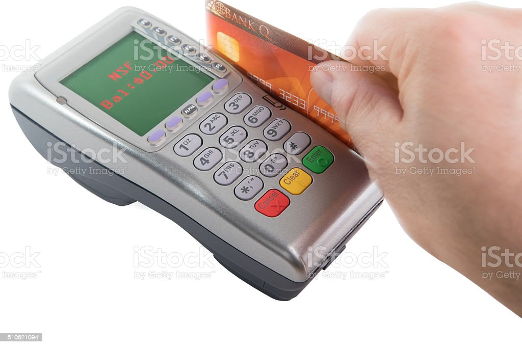 Non Sufficient Funds - Swiping bank card on payment terminal stock photo