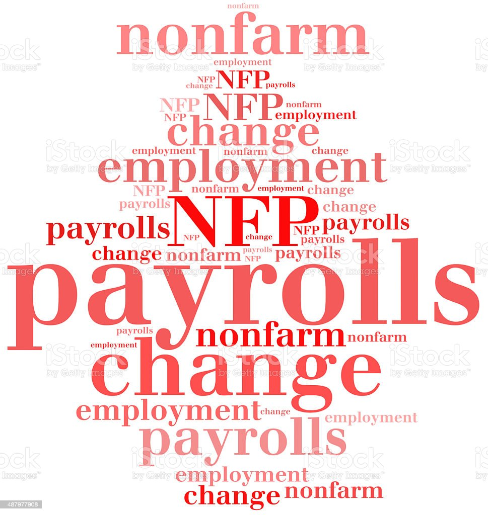 Non-farm employment change, payrolls or NFP. stock photo