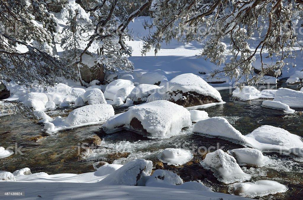 Non-freezing river in the winter mountain stock photo