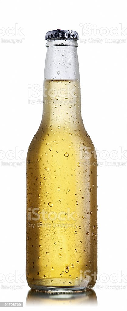 Non-glossy white beer bottle royalty-free stock photo