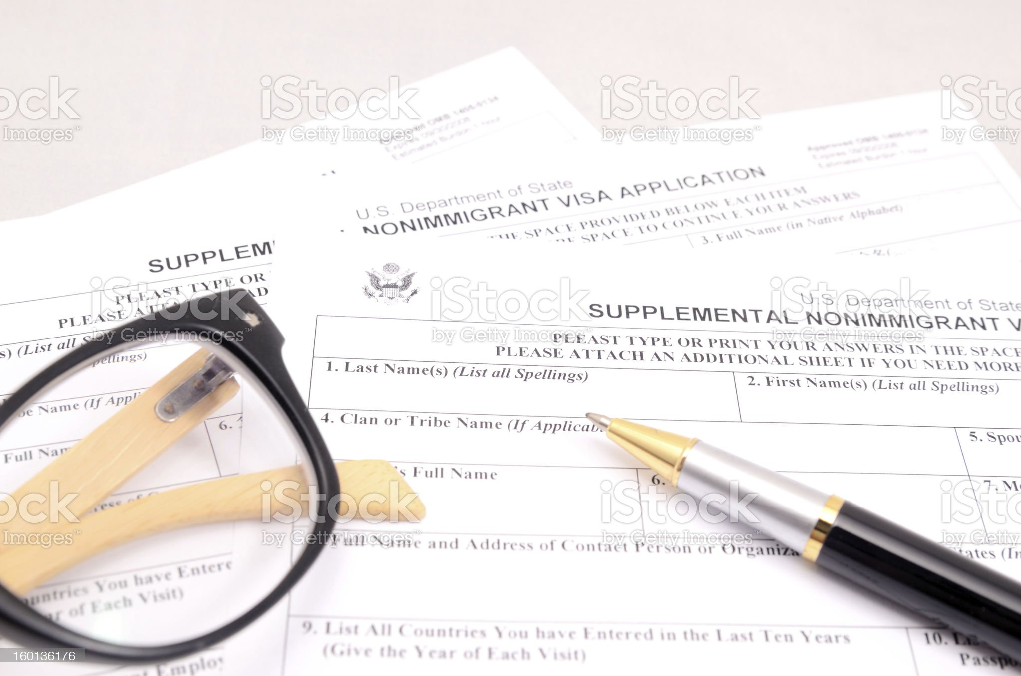 nonimmgrant application form royalty-free stock photo