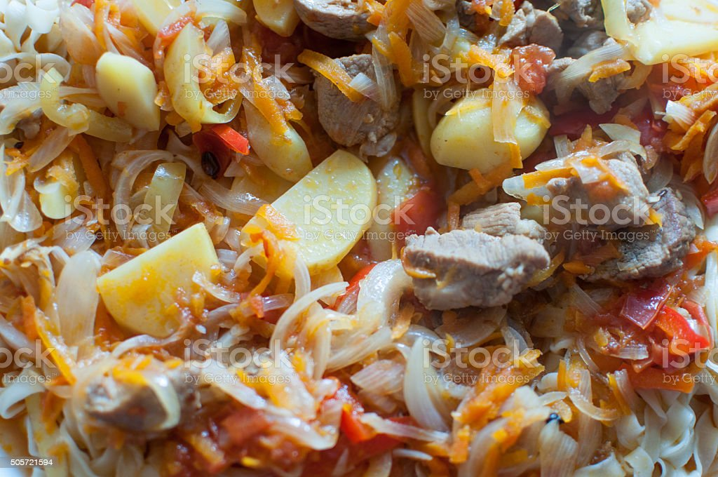Noodle and meat dish stock photo