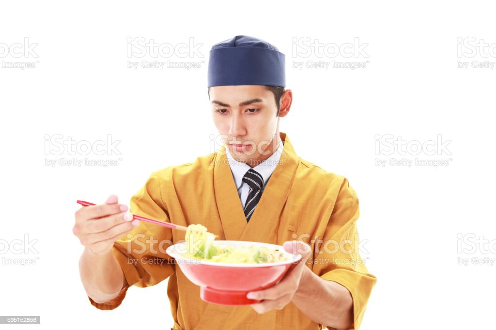 Noodle chef stock photo