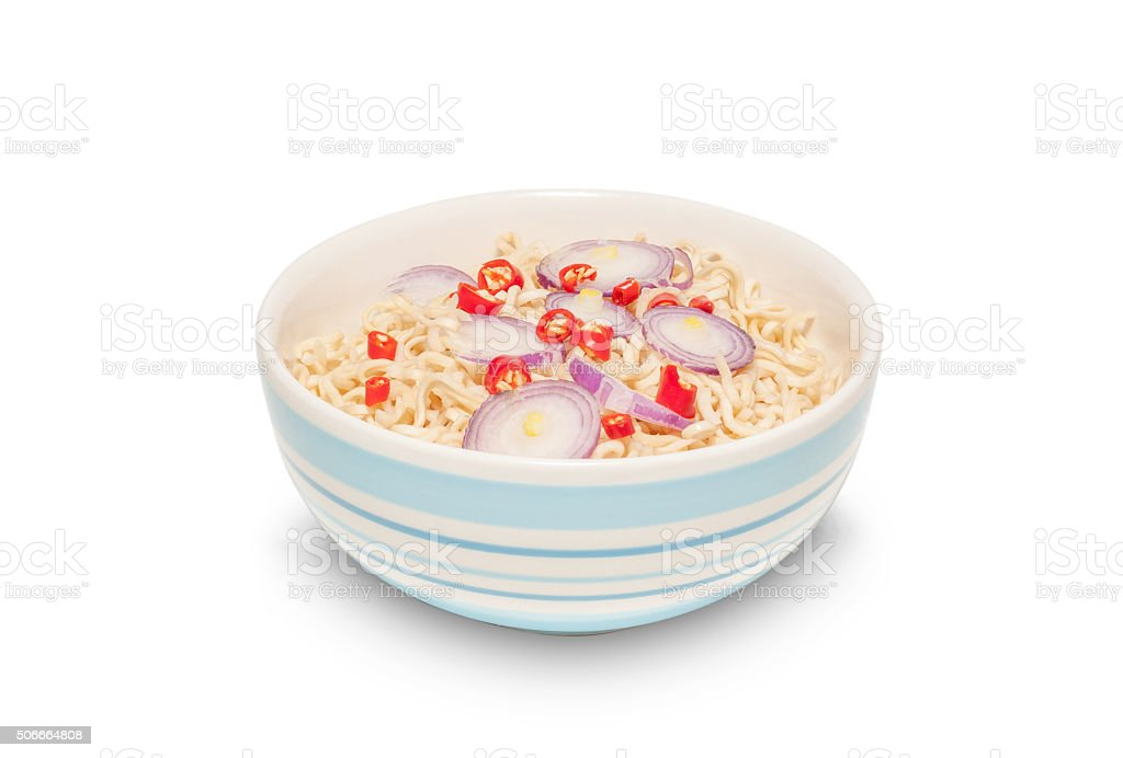 Noodle in bowl isolated, Clipping path stock photo