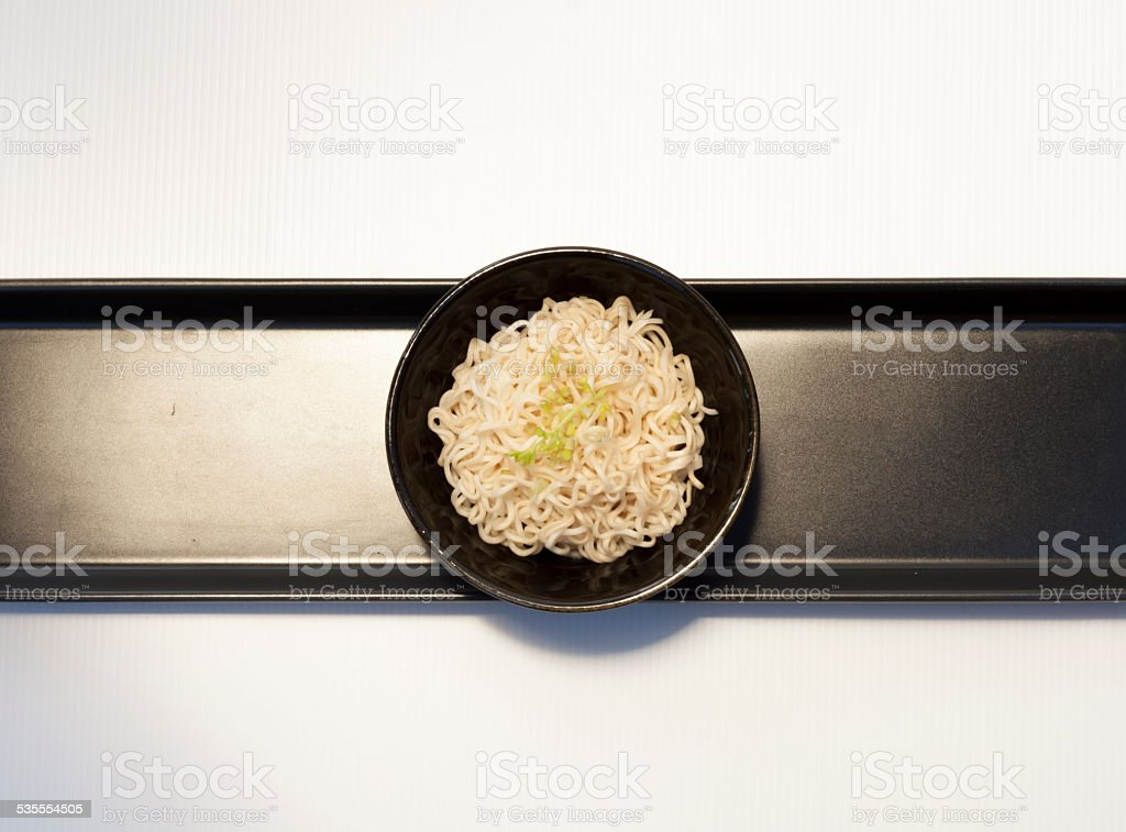 Noodle set in middle black tray royalty-free stock photo