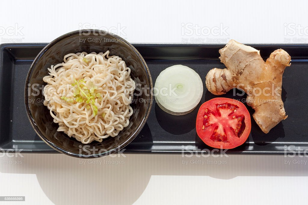 Noodle set on the black tray royalty-free stock photo