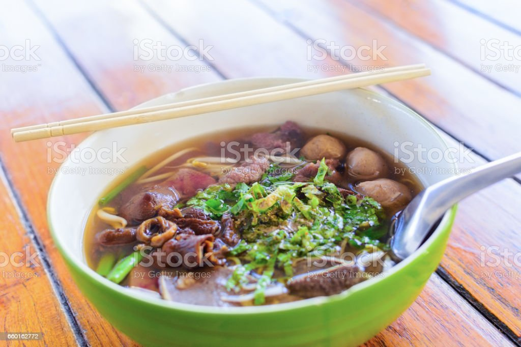 Noodle soup with beef. stock photo