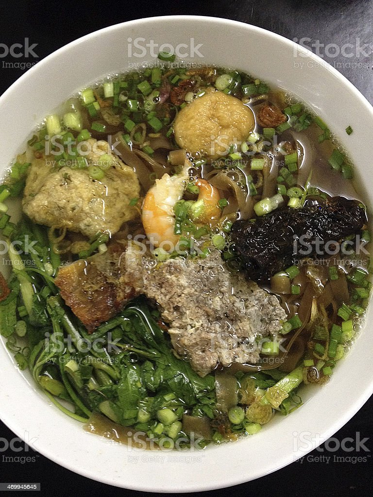 Noodle soup with Pork-pie and Grilled fish stock photo