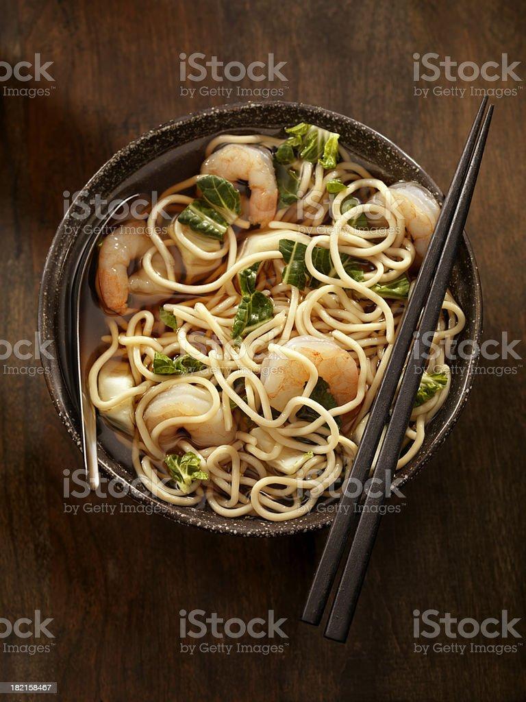 Noodle Soup with Shrimp stock photo