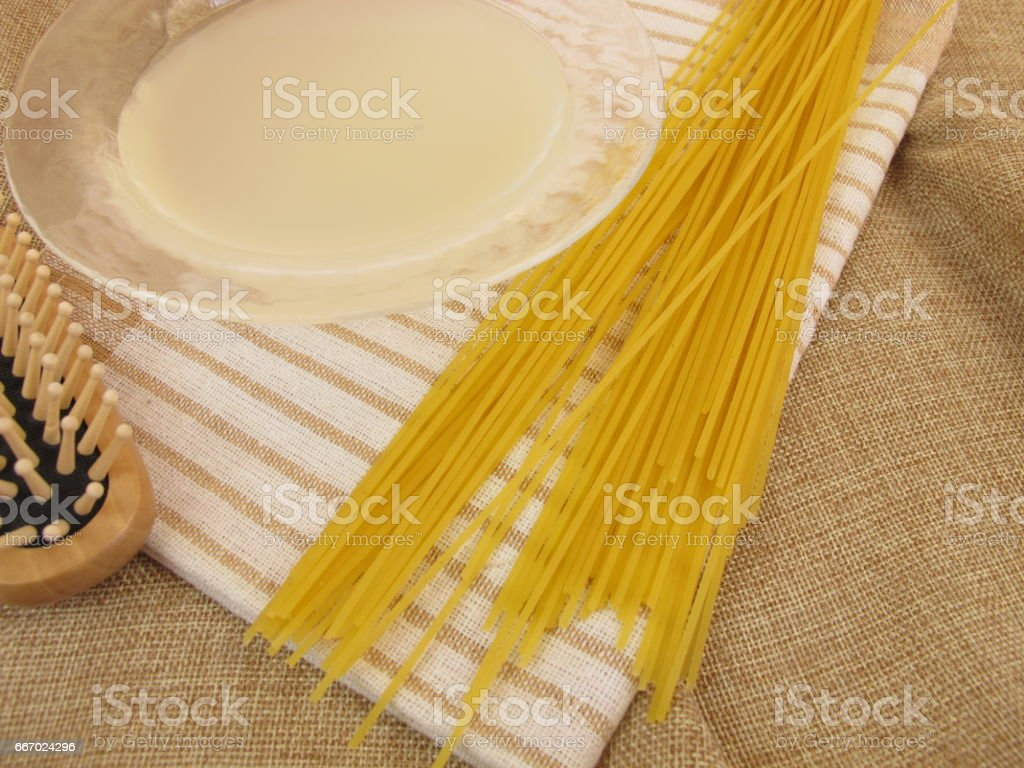 Noodle water for hair care an nice skin stock photo