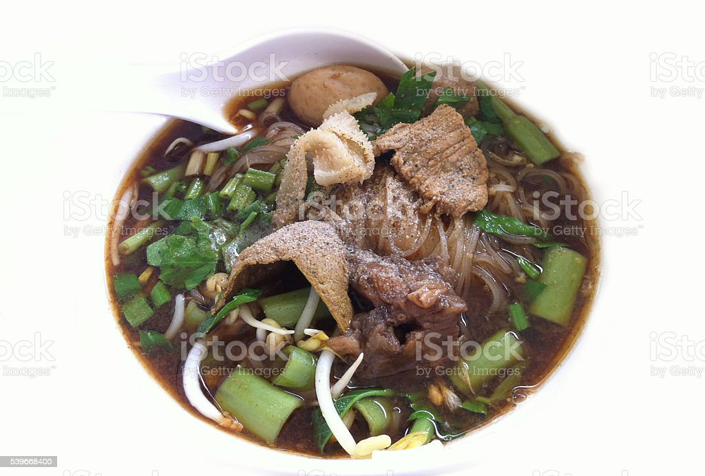 Noodle with braised beef and meat ball stock photo