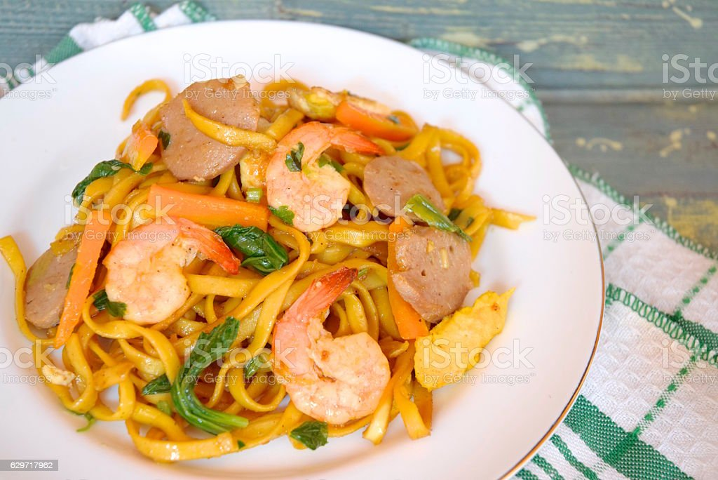 Noodle with prawn and vegetable stock photo