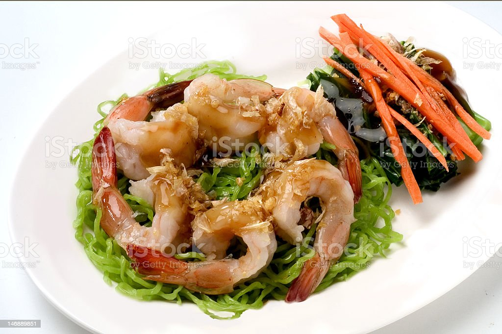 Noodle with prawn Delicious stock photo