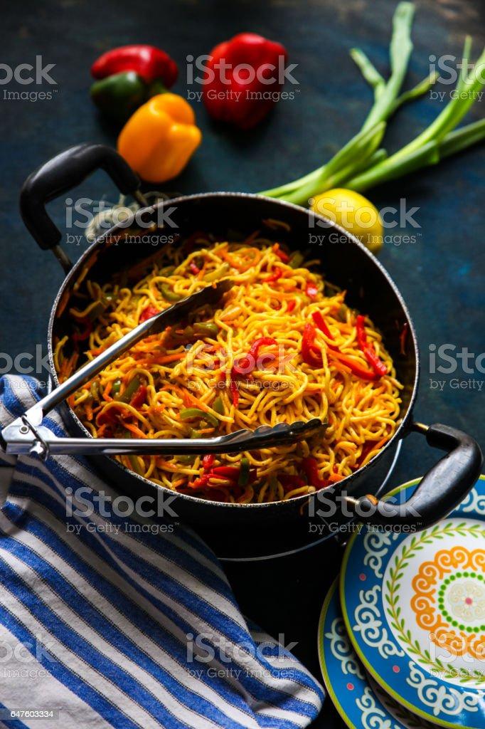 noodle wok stock photo
