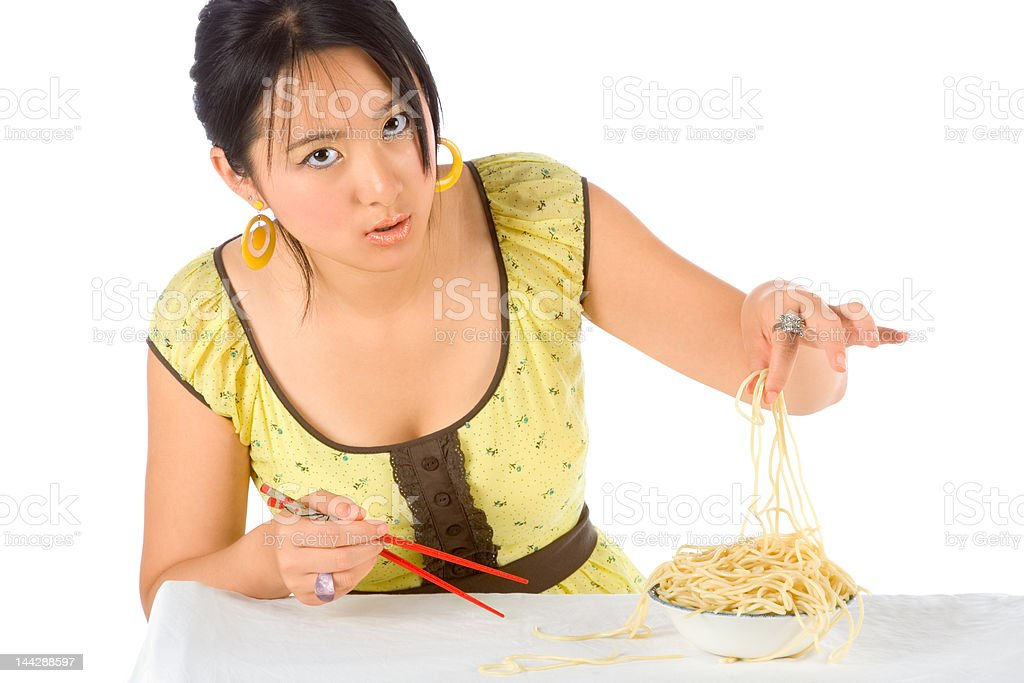 Noodles and chopsticks royalty-free stock photo