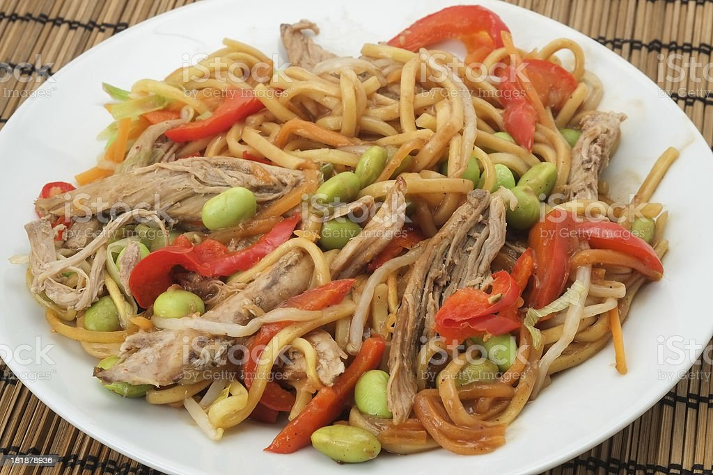 Noodles and Hoisin duck stock photo