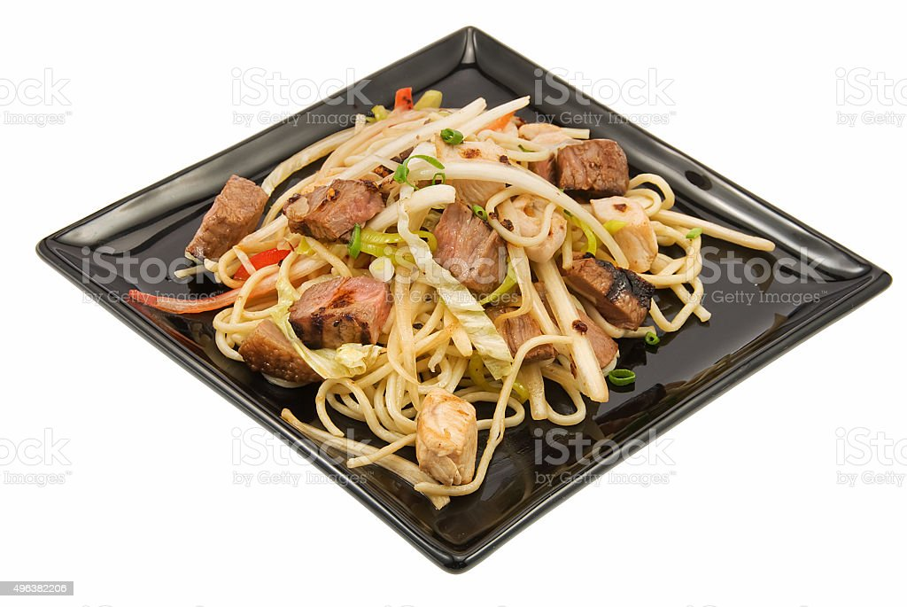 noodles and three kimds of meat stock photo