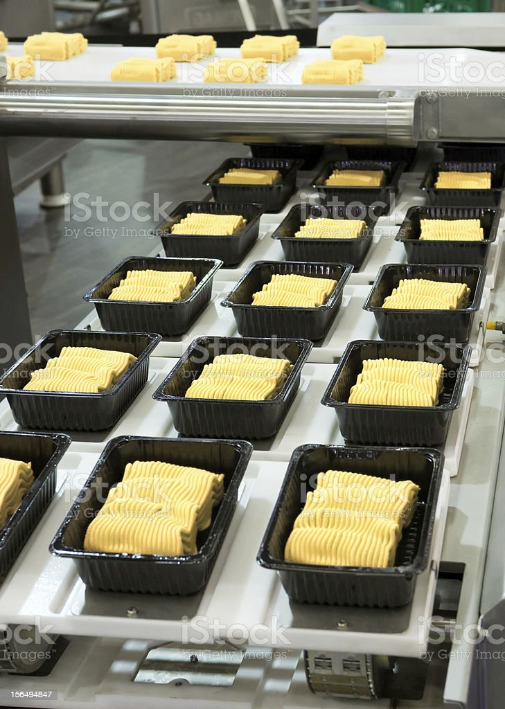 Noodles, being made on an industrial scale royalty-free stock photo