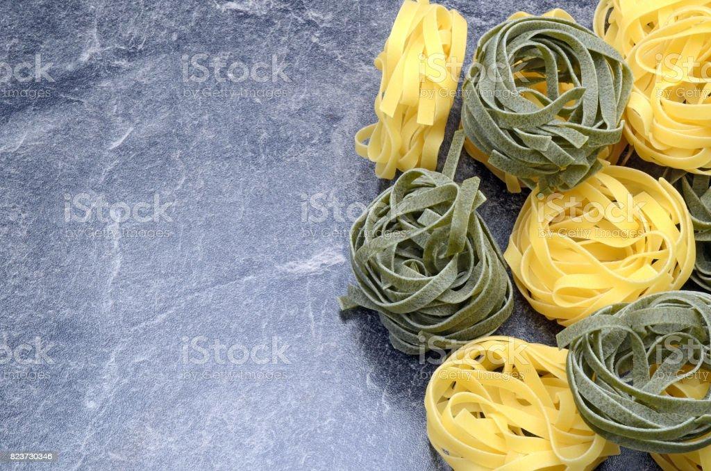 Noodles black background stock photo
