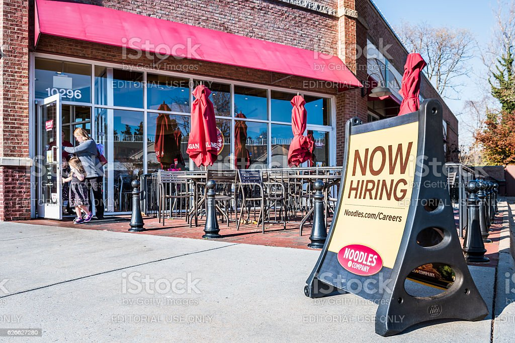 Noodles & Company World Kitchen outdoor seating area stock photo