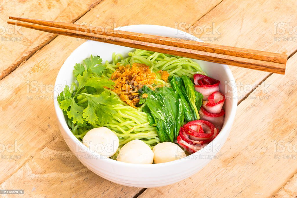 Noodles in Thailand Ba-Mee-Moo-Dang  or pasta of Asia stock photo