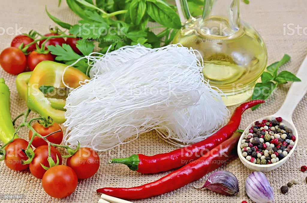 Noodles rice white with spices and oil royalty-free stock photo
