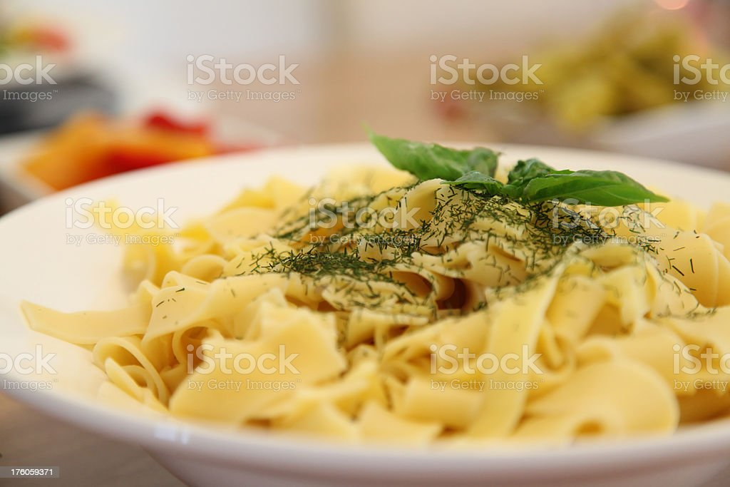 Noodles with Basil stock photo