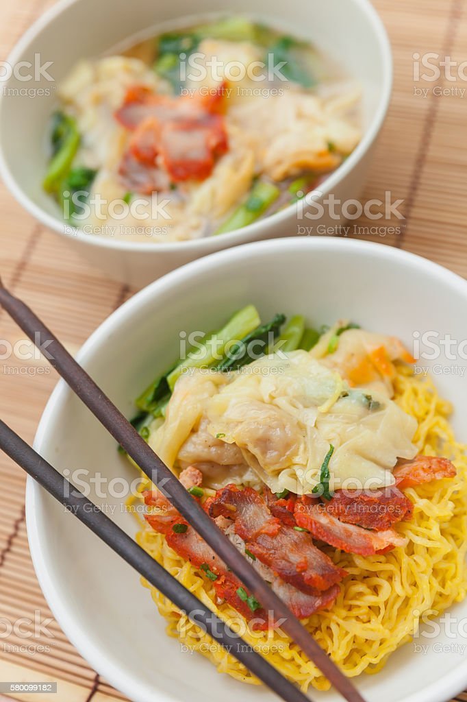 Noodles with dumpling and vegetables stock photo