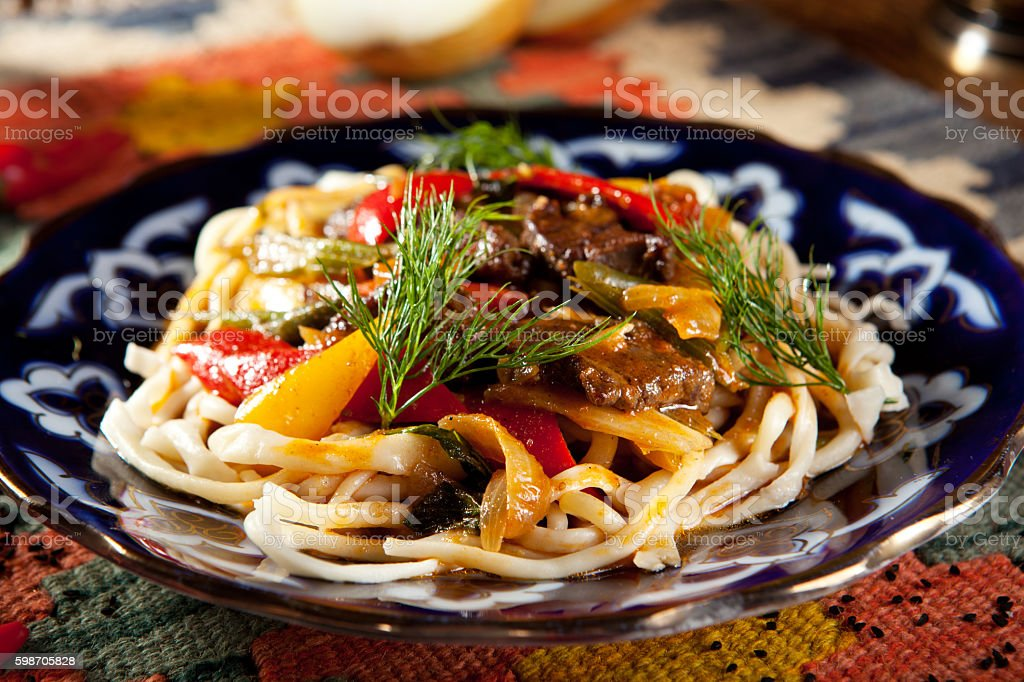 Noodles with Laghman Sauce stock photo