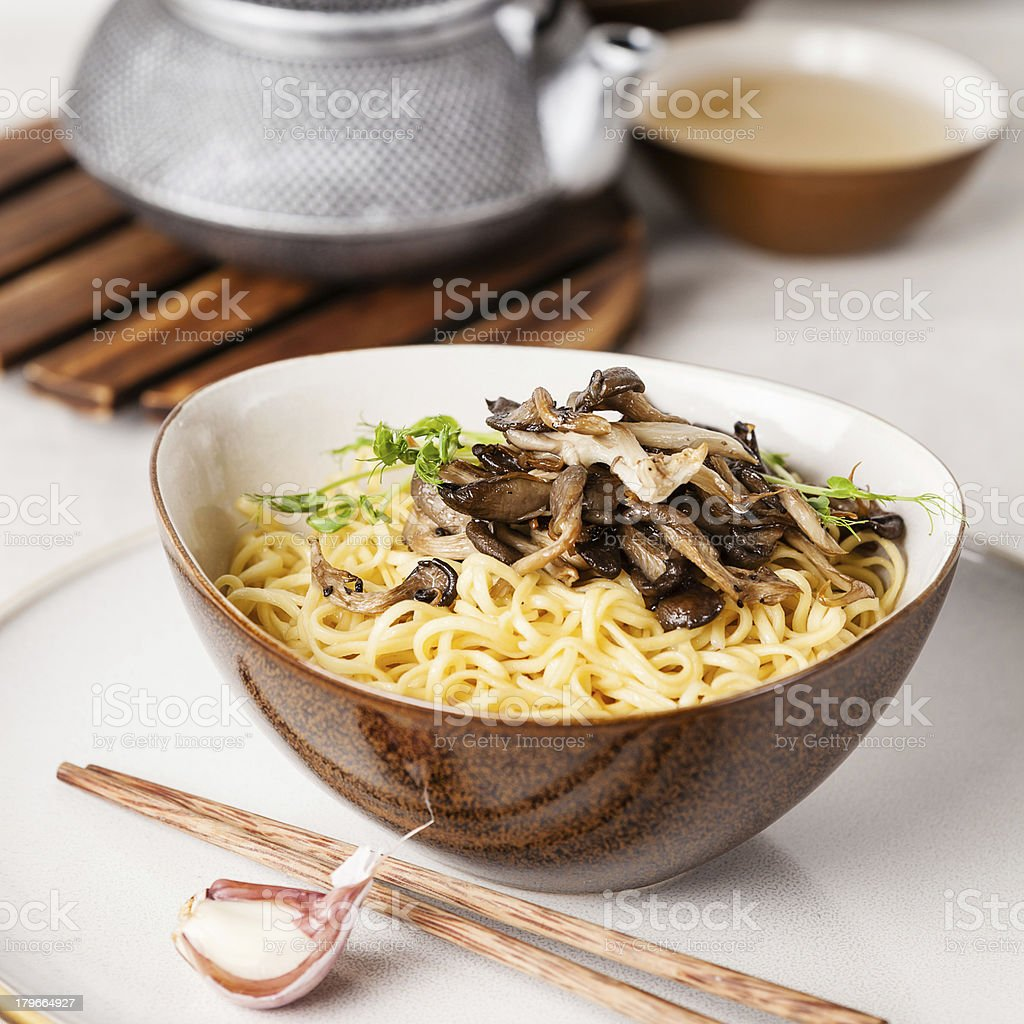 noodles with mushrooms royalty-free stock photo